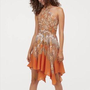 NWT H&M Apricot Paisley Scarf Halter Dress Sz 2